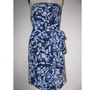 GUCCI blue strapless dress