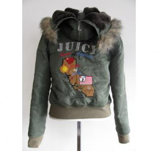 Juicy Couture olive /fur hooded bomber
