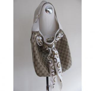 Gucci logo shoulder bag with silk scarf