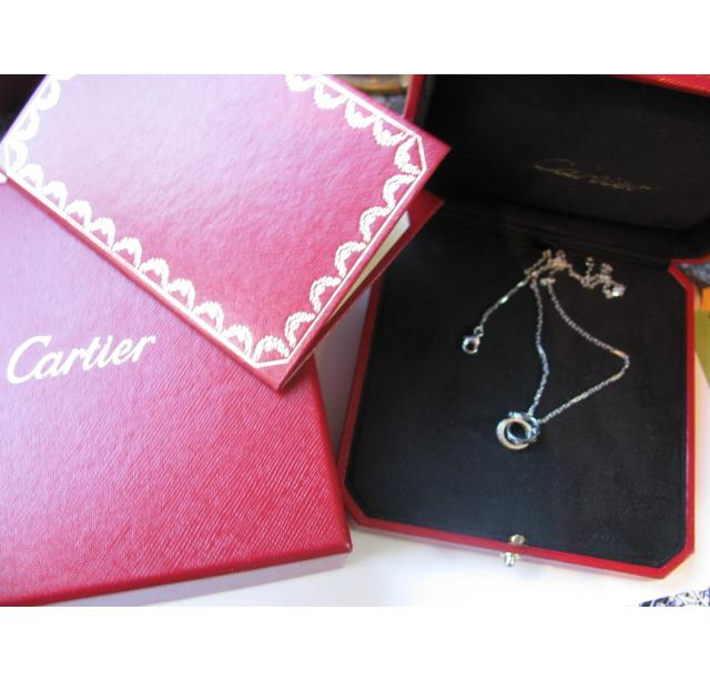 Cartier diamond and white gold love ring necklace