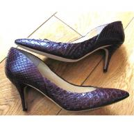 Jimmy Choo burgundy Python Skin court shoes