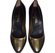 Black Chanel Shoes heels with Gold Toe