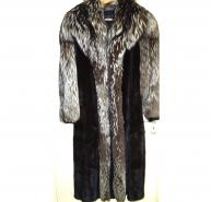 CHRISTIAN DIOR BLACK MINK AND SILVER FOX FUR FULL
