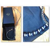 Mawi chain, blue pearl & diamentee necklace RRP �350