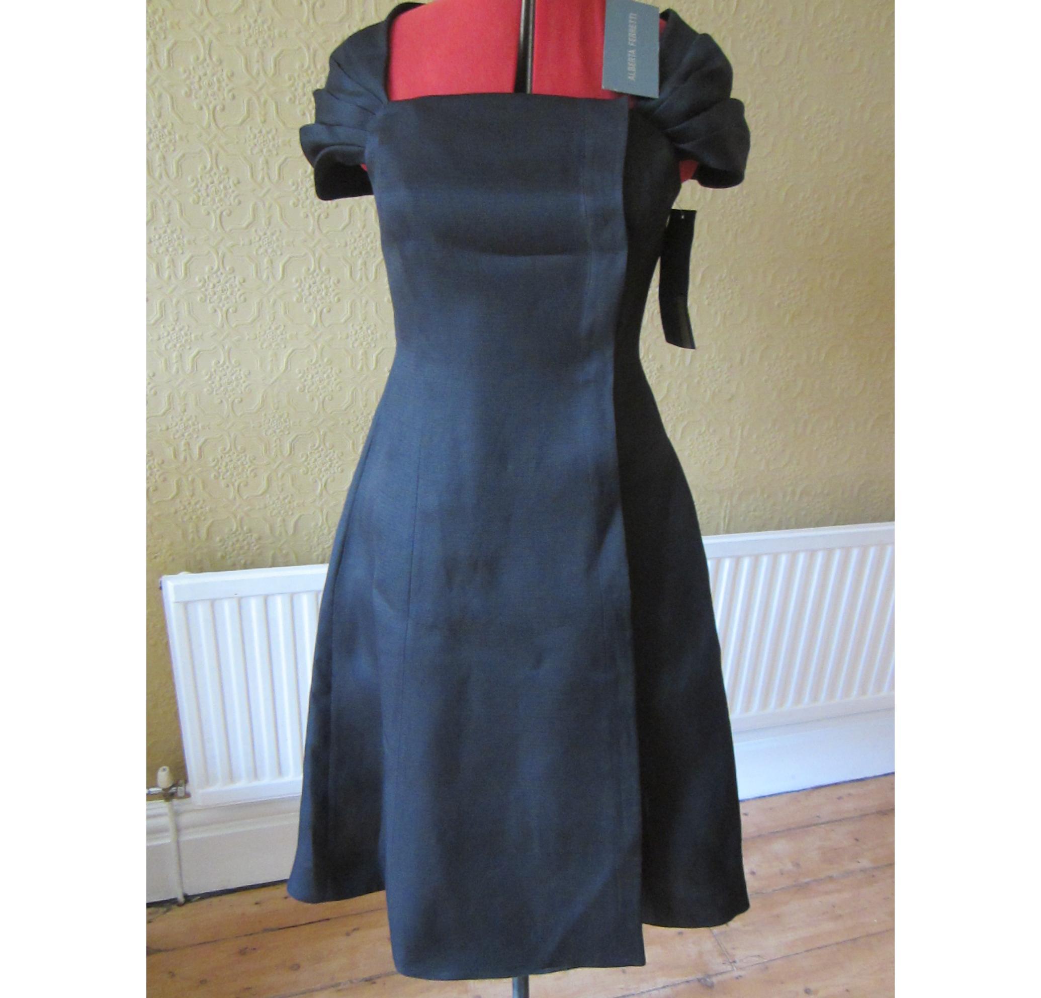 ALBERTA FERRETTI �1,080 BRAND NEW BLACK DRESS UK8; IT 40; USA 4