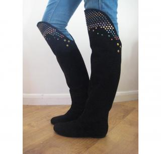 Russell & Bromley VICINI over knee thigh high gemstone black suede flat boots