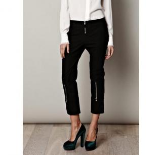 ALEXANDER MCQUEEN NEW Low-waisted crop trousers with suede detail