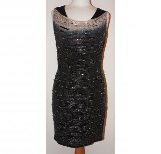 AMEN HEAVILY BEADED SLASH DROP BLACK FITTED DRESS SIZE 10 UK