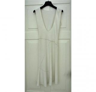AZZEDINE ALAIA PARIS white viscose body con dress