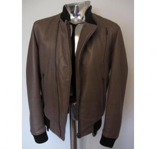 Men's J Lindeberg Kilner Brown Leather Bomber Jacket Medium RRP�790 veste cuir
