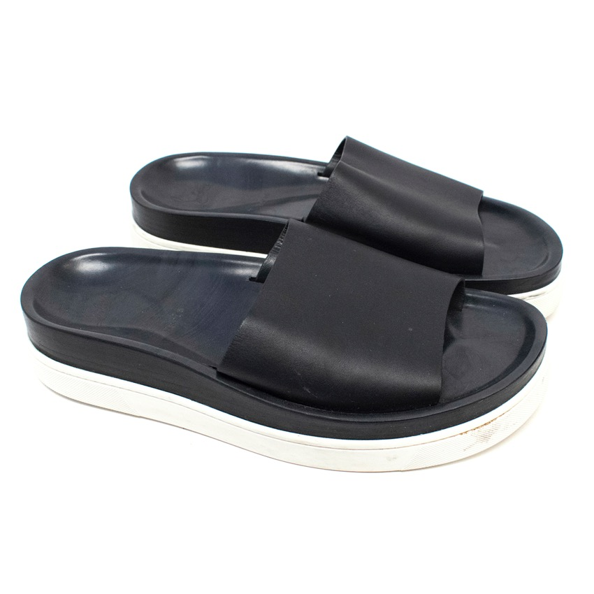 8a4bcd64382 Christian Louboutin Mens Black Leather Sliders
