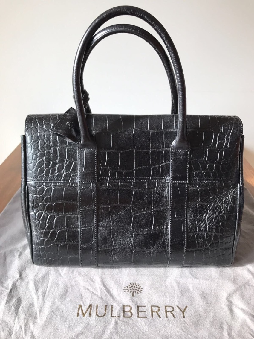 ... in black polished deep embossed croc print leather sold 28d55 29f9d   reduced mulberry bayswater black deep embossed croc print hewi london 288f1  b25d6 5a163b1fc9952