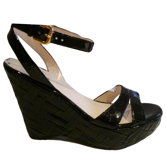 Prada Black Wedge Sandals