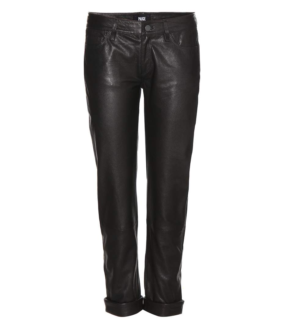 Paige Leather Boyfriend Trousers