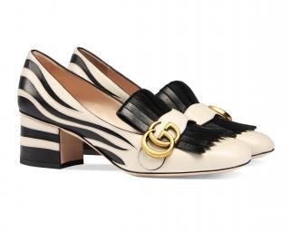 Gucci Marmont Zebra Patterned Heels