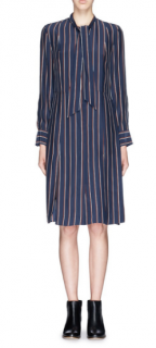 Frame 'Le Shirt Tie' Stripe Silk Dress RPP �275