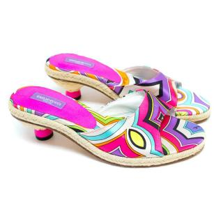 Emilio Pucci Silk Patterned Kitten Heels with Woven Rope