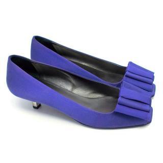 Prada Blue Silk Kitten Heels with Bow Detail