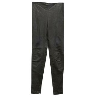 Balenciaga Dark Brown Leather Trousers
