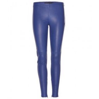 Victoria Beckham Blue Leather Leggings