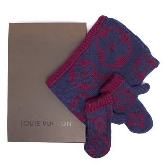 Louis Vuitton Purple and Magenta Knit Snood and Mittens