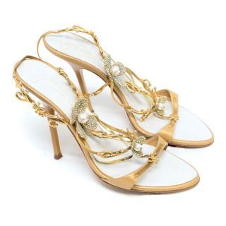 Giuseppe Zanotti Gold Flower Embellished Heeled Sandals