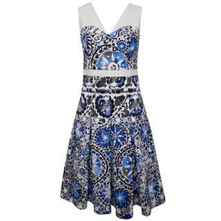 Veronica Moncho Lobo Cotton Blend Print Dress