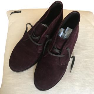 Bottega Veneta Suede Aubergine Boots