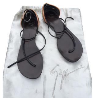 Giuseppe Zanotti Gold leather strap sandals
