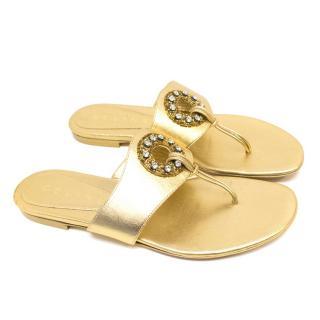 Celine Gold Embellished Flats