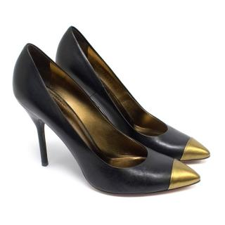 Yves Saint Laurent Black and Gold Leather Court Shoes