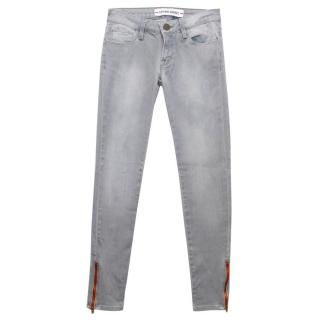 Etienne Marcel Grey Skinny Jeans with Red Zip Details