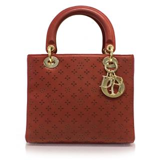 Christian Dior Red Lady Dior Bag with Lazer Cut Details