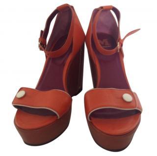 M Missoni orange wedge ankle strap sandals