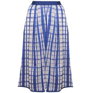 Mantu Full Plaid Skirt In Blue And White