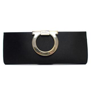 Salvatore Ferragamo The Muse Black Satin Clutch