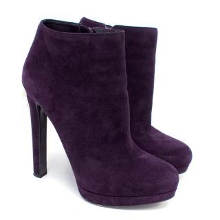 Alexander McQueen Purple Suede Heeed Ankle Boots