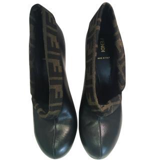 Fendi monogramme black leather shoes
