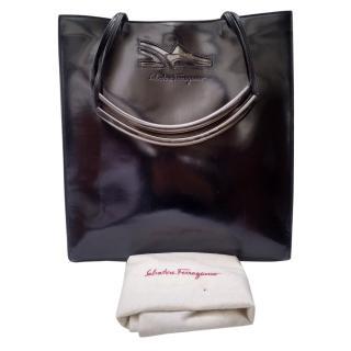 Salvatore Ferragamo Vintage Black Glossy Leather Shoulder Tote Bag