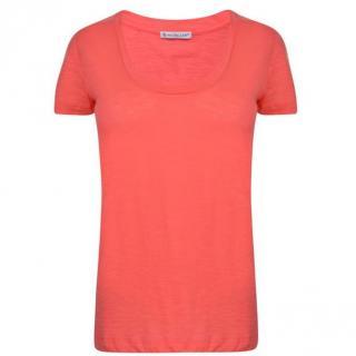 Moncler Women Coral T Shirt Clothing Scoop Neck