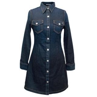 Alexa Chung for AG Dark Blue Denim Long Sleeved Dress