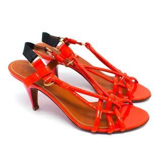 Lanvin Orange Patent Leather Strappy Sandals