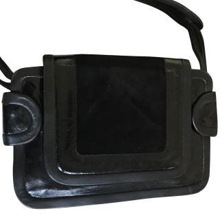 Pierre Hardy Black Patent Leather and Suede Bag