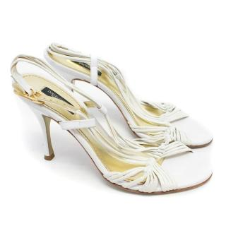 Dolce & Gabbana White Strappy Sandals with Gold Hardware