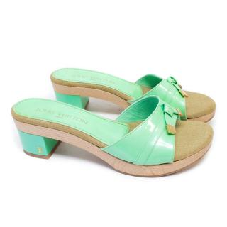 Louis Vuitton Green Patent Leather Clogs