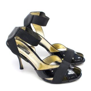 Dolce & Gabbana Black Patent Leather Heeled Sandals