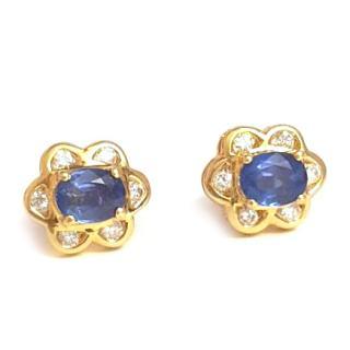 Sapphire & Diamond Cluster Earrings 18ct Gold