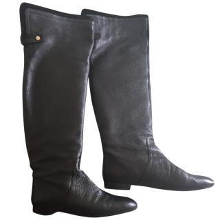 Hugo Boss black thigh high boots