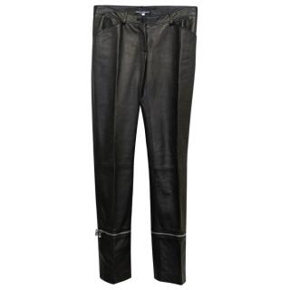 Dolce & Gabbana Black Leather Trousers