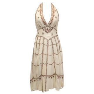 Temperley Halter Neck Cream Embellished Dress